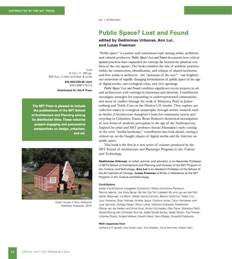 """AAA publié par le MIT dans """"Public Space? Lost and Found"""""""